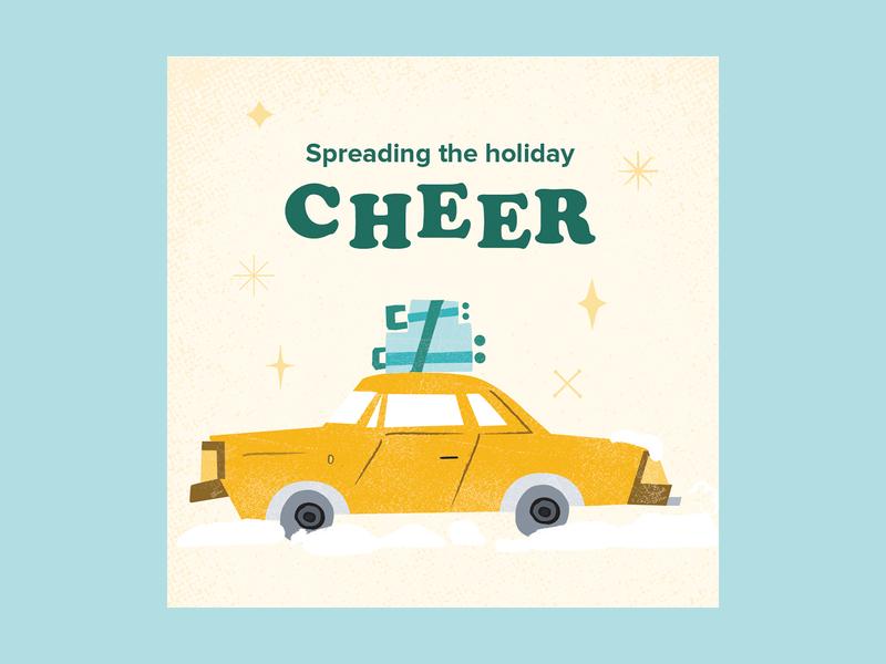 Holiday Illustrations retro travel taxi holidays illustration