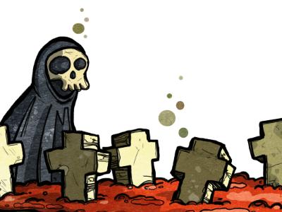 7 dead flies illustration