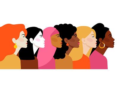 Multi-ethnic women ethnic vector portrait women