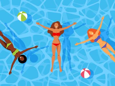 Woman swimming in the pool.