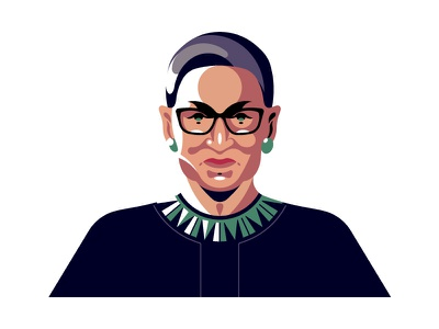 Ruth Bader Ginsburg design illustration face portrait vector