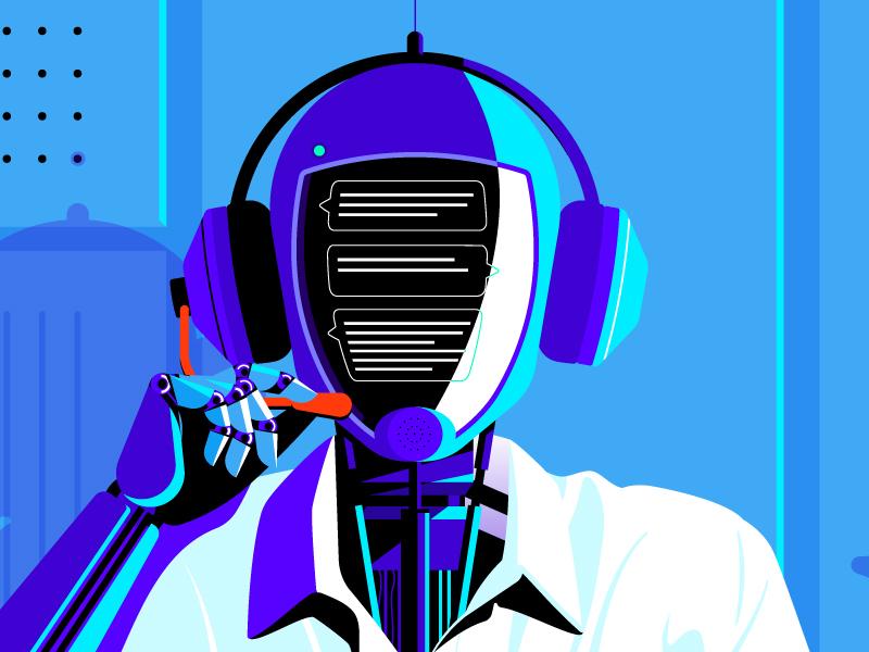 Chat bot face portrait illustration vector