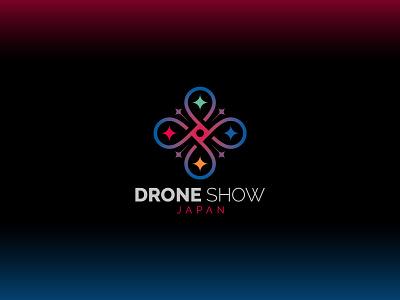 Drone Show Japan gradient futuristic neon sign illuminate geometic brand identity drone logo logo design drone
