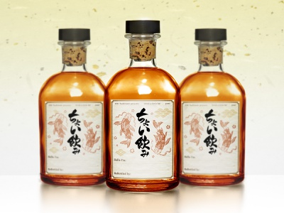 'Drink a little bit(ちょい飲み)' Whiskey Label asian whiskey label stayhome takeaway whiskey and branding vintage hand drawn koi fish japanese calligraphy alcohol packaging japanese culture bottle label label design whiskey