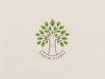 Earth Viable hand lettering smiley logo branding brand identity logo design earthy sustainability eco green tree advertising global warming hand type hand drawn