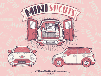 MINI Shouts line pink lettering children car adobe illustrator vector mini clubman cafe coffee espresso machine vintage flyer design miniature illustration