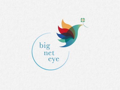 big net eye Logo Design minimum flying bird adobe illustrator four leaf clover multiply simple eco gradient multicolor bird vector art vector logo brand identity