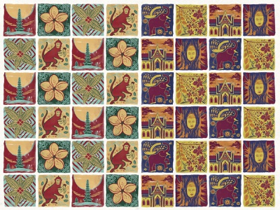 Bali and Thai Tile Arts photoshop line folk art southeast asia landmarks elements travel culture animal flower indonesia hand drawn asia illustration bali