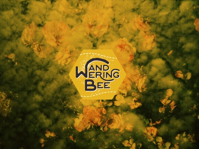 Wanderingbee honey logo double exposure dusty film vintage personal branding blog yellow hive travel design hexagon bee
