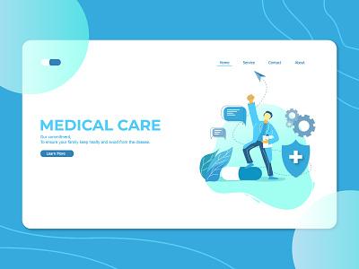 Medical Care Landing Page app flat patients landing page interface web medical care researcher platform graphic medicine hospital design ux ui physician health disease doctor illustration