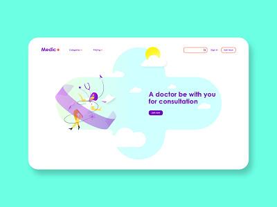 Medical Consultation Platform web ux ui platform medicine consultation medical landing page interface illustration hospital health graphic flat doctor disease design app