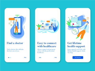 Onboarding Healthcare App screen web design support platform online ui onboarding mobile interfaces interface illustration hospital healthcare health graphic doctor design app