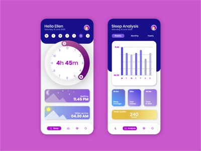 Sleep Tracking App bedtime health screen analysis interaction user inteface graphic tracking app tracking sleep mobile app mobile design mobile ui mobile flat illustration interface ui design app