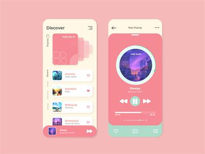 Music Player App Design Concept ux ui design ui songs playlist pastel musician music mobile minimal ios interface interaction illustration graphic design concept clean app album