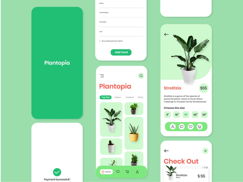 Plantopia Mobile App Design greenery water plant shop ux typography interaction plant app ios flourish minimal clean plant green mobile ui interface illustration graphic design app