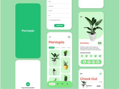 Plantopia Mobile App Design greenery water plant shop ux typography interaction plant app ios flourish minimal clean plant green mobile ui interface illustration graphic design app