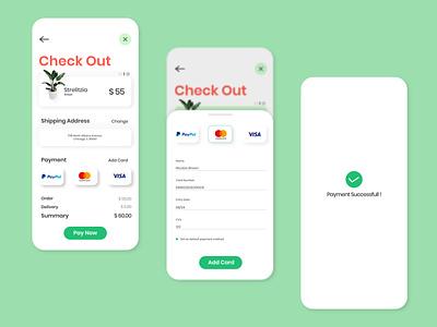 Plantopia Payment Checkout Page plant app clean minimal bank mastercard visa paypal debit card credit card payment cart payment check out interaction ux ui interface illustration design graphic app