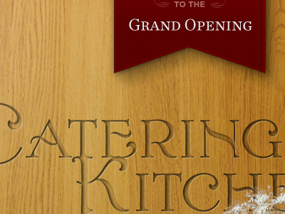 Catering Kitchen wood engrave ribbon catering kitchen