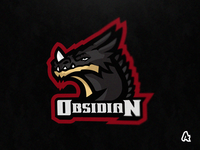 Obsidian Dragon Mascot Logo