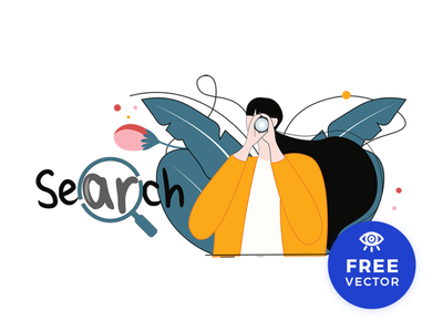Search Illustration Free Vector ui vectorforfree girl search design illustration download freebies freebie