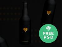 Black Beer Bottle Mockup