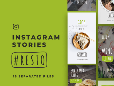 Resto Instagram Stories/ 18 Free PSD free psd freebie mobile instagram identity clean minimal stories restaurant