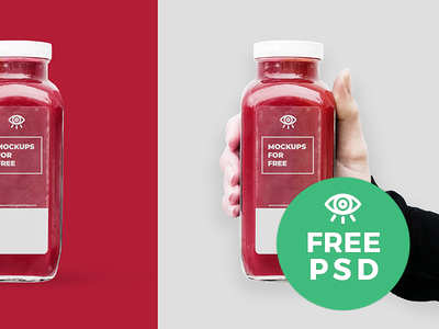 Glass bottle in hand Mockupsforfree downloadfree скачать psd bottledesign freebies mockupsforfree