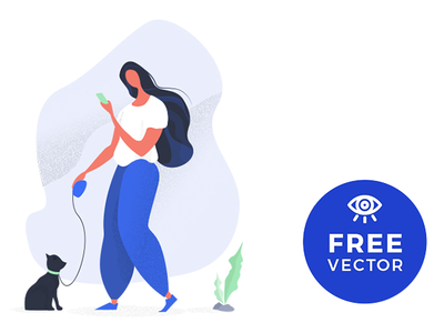 Illustration Girl Walking A Cat / Free Vector