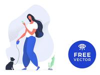 Illustration Girl Walking A Cat / Free Vector