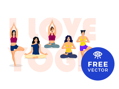 Set Of Yoga Positions / Free Vector yoga vector vector art illustration freebie freebies