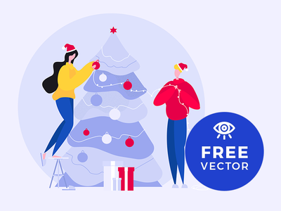 Couple Decorating The Christmas Tree christmas tree christmas xmas freebies vector illustration freebie