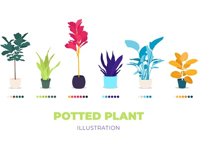 Potted Plant Illustration / FREE vector download freebies flowers pot illustration vector freebie