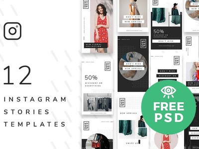 12 Shop Instagram Stories Template / Free PSD instagram freebies download free psd mockup freebie