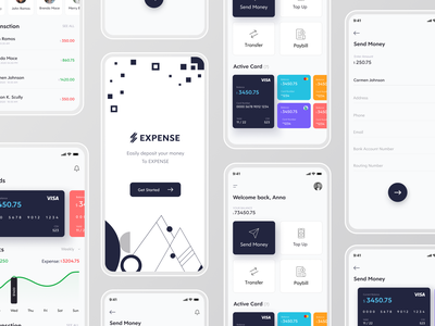 Expense Banking App ui design ui  ux mobile app user interface uidesign bank expenses online banking app bankingapp banking bank card bank app financial app finance app finances financial onboarding finance online banking