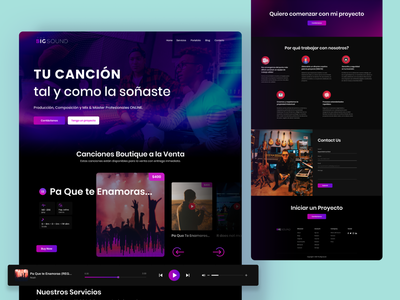 The Big Sound: Music Services Landing Page 2021 trend landing page branding graphic design ui design ux design user experience user interface uidesign