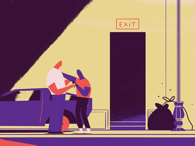 Drink or drive, you need to choose. dolorean friend exit drunk motion illustration drive drink renaud lavency