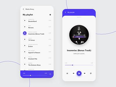 Music App tracks songs music album player mobile design ui interface clean music app music app