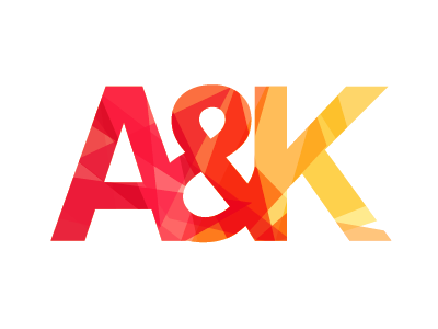 Logo for A&K Studio logo identity pattern geometric angles warm colorful bold