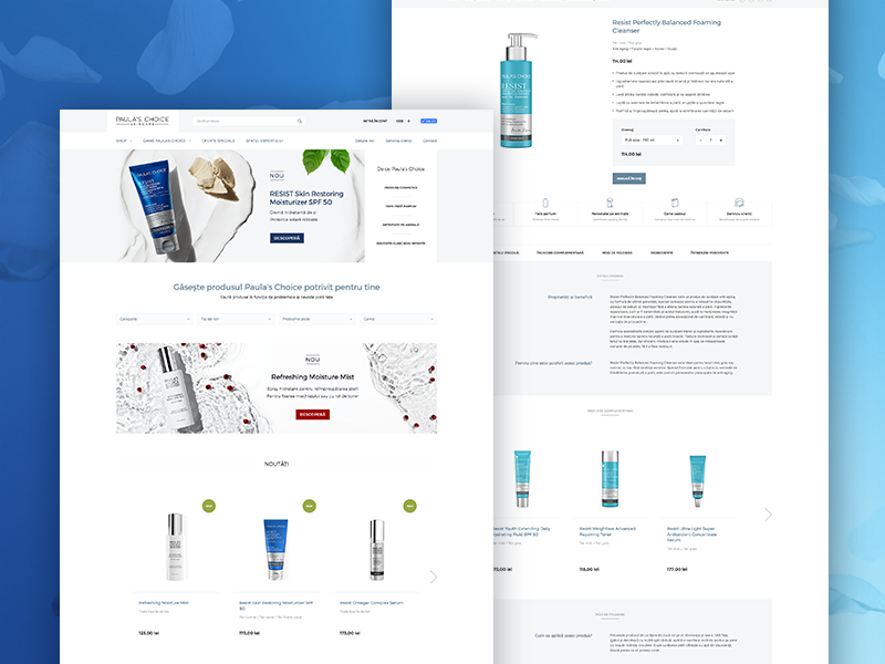 Paula's Choice Romania - Website Redesign paulaschoice beauty cosmetics layout shop ecommerce interface ux ui uidesign website webdesign