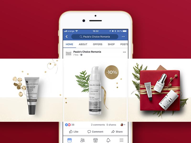 Paula's Choice Facebook Carousel social media holiday christmas layout cosmetics beauty carousel facebook