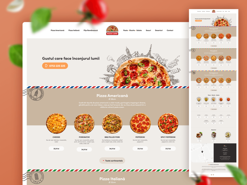 PizzaLand - One Page Website food restaurant menu design menu pizza one-page website ux ui