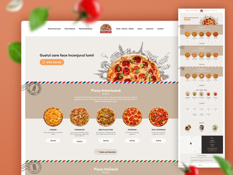 PizzaLand - One Page Website food restaurant menu design menu pizza one-page website ux ui