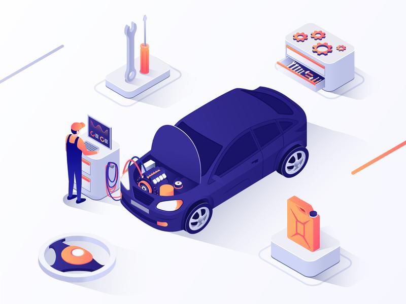 Auto Diagnostic isometric illustration equipment engine garage automobile service isometric art repair car diagnostic auto app 3d ux ui isometric design business isometric vector design illustration