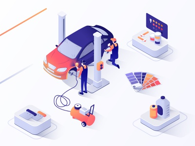 Car Painting | Isometric illustration auto painting repair man color spray paint center car app 3d ux ui isometric design business isometric flat vector design illustration