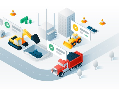 Isometric Illustration design vector illustration illustrator uiux ux iu truck tractor excavator building app 3d car isometric illustration isometric design isometric art isometric