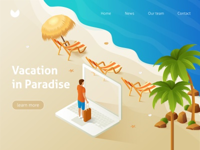 Tropical beach, lounge chair. Isometric illustration landing page isometric design website flat isometric banner tropic holiday sun tropical jungle palm illustration vacation sea leaf summer vector beach travel