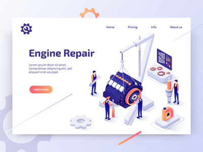 Car Repair Service trend element service car illustrator web website isometric design landing page banner 3d isomatric car repair app ux ui vector flat design illustration