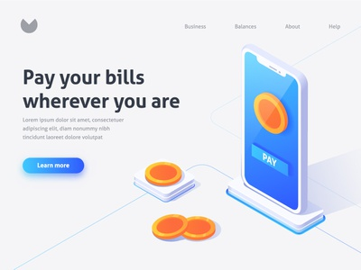 Pay your bills landing iphone bill coin pay download isometric app finance mobile bank ios web ux ui icon business vector flat illustration