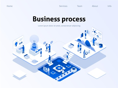 Business process process marketing ux ui web isometric infographics company communication code brainstorm banner analysis analytic idea team illustration business vector flat
