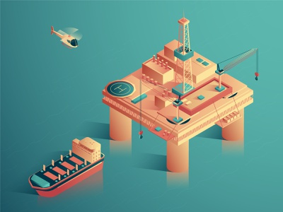 Oil industry delivery production tanker ocean sea oil platform ship helicopter petrol industry gas oil 3d isometric design isometric vector design illustration